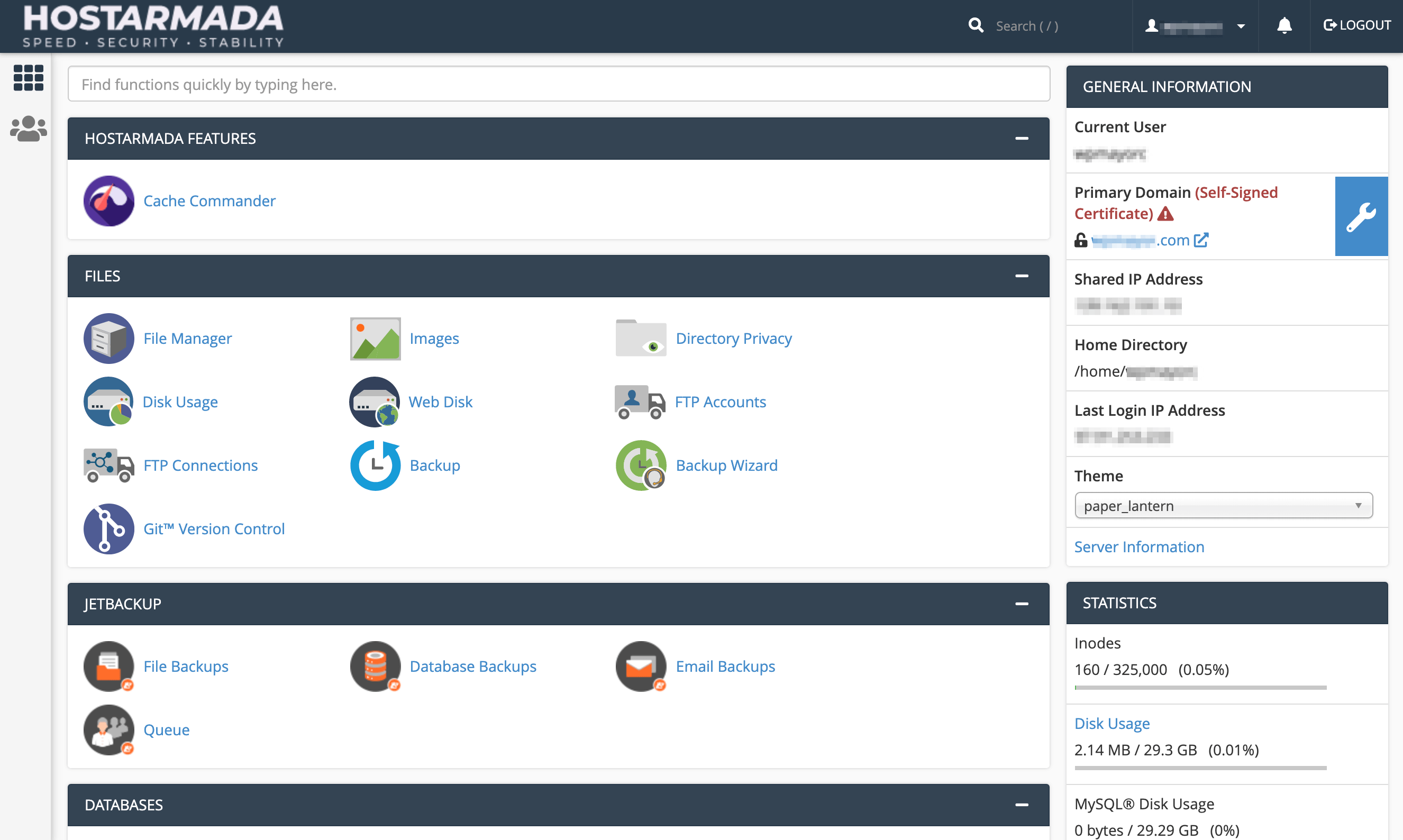 The HostArmada cPanel interface.