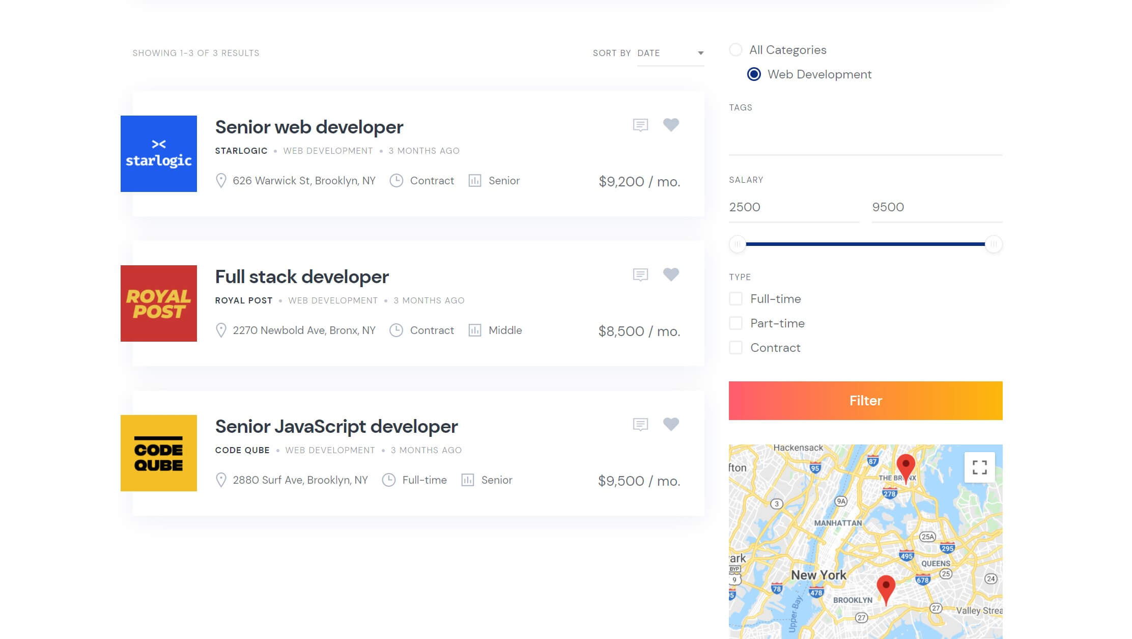 Job categories in the JobHive theme.