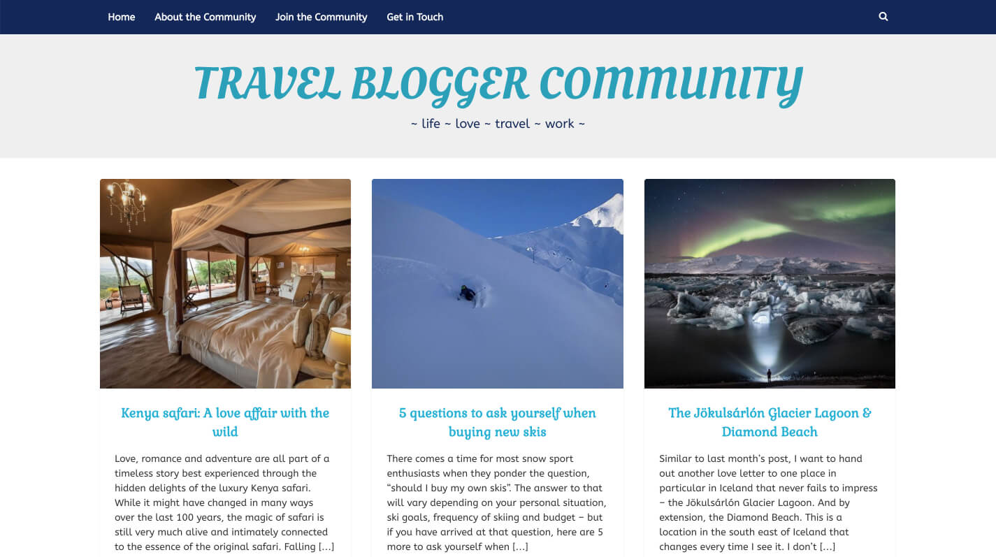 Autoposting in action on the Travel Blogger Community website.