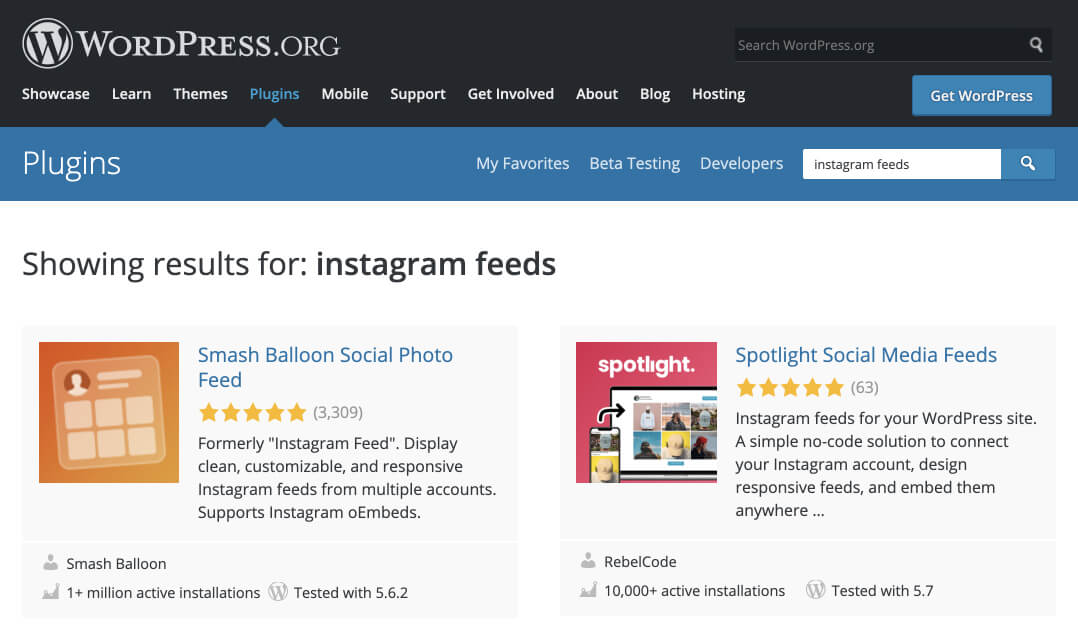 "Spotlight currently ranking in second spot for the ""Instagram feeds"" keyword."