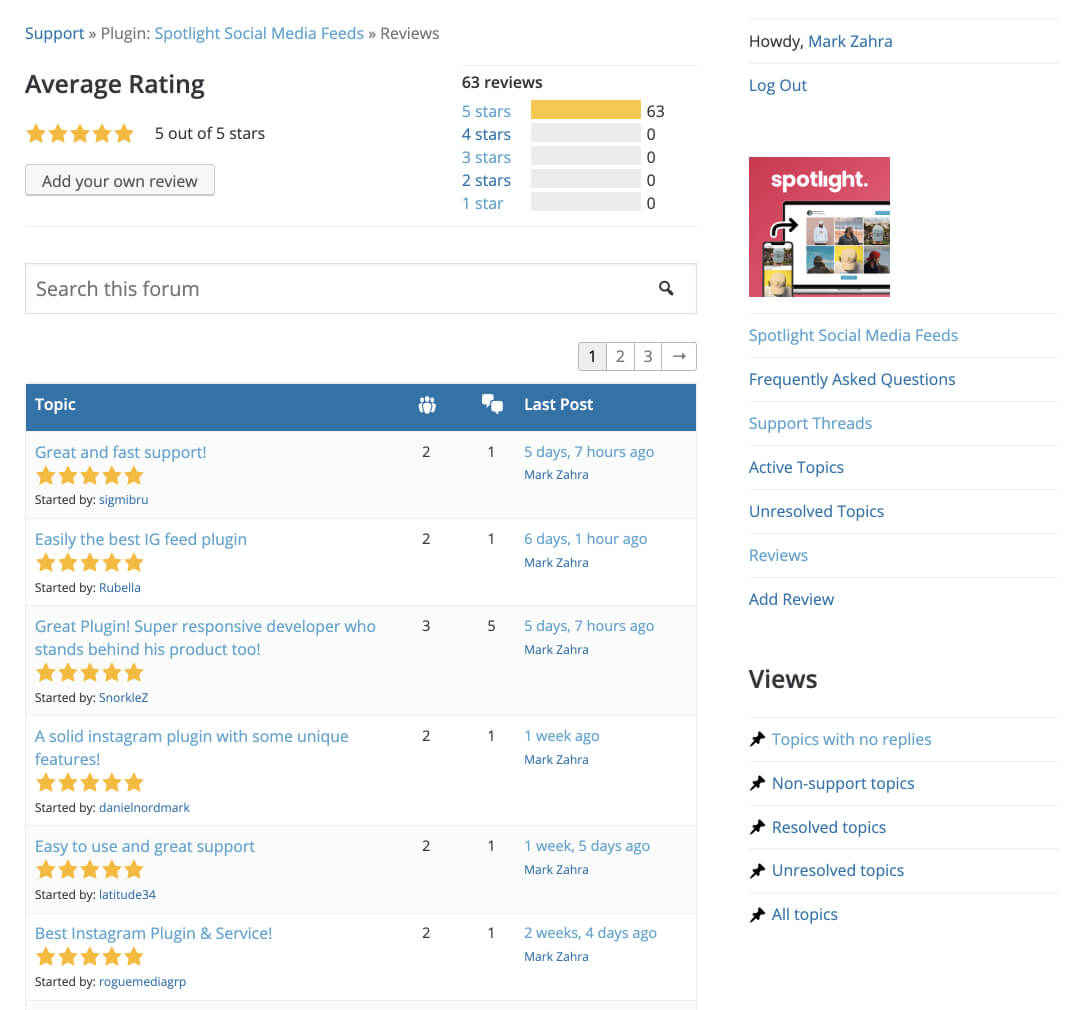 Spotlight Instagram Feeds' latest reviews on WordPress.org, all 5-stars.