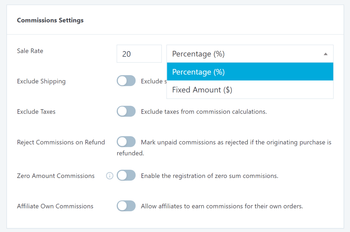 Commission settings in SliceWp