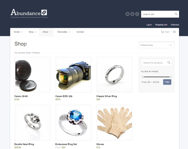 Abundance eCommerce Theme Demo Products