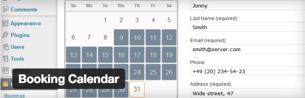 Booking calendar scheduling for wordpress