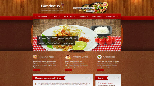 Bordeaux Restaurant WordPress Theme