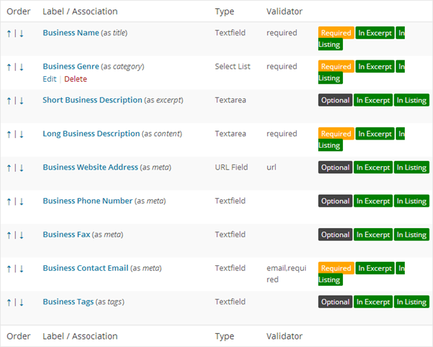 Business Directory Form Fields