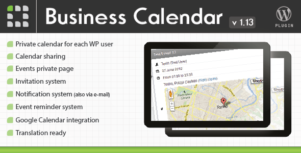 Business calendar wordpress