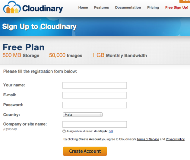 Cloudinary   Sign up