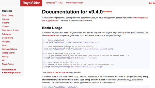 Documentation RoyalSlider