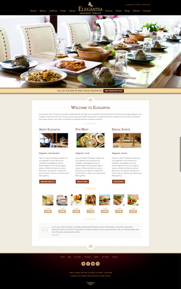 Elegantia Restaurant and Cafe Theme