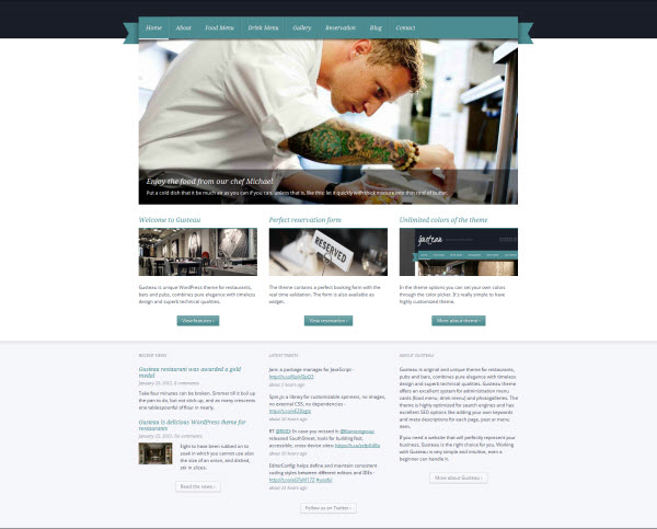 Gusteau Restaurant WordPress Theme