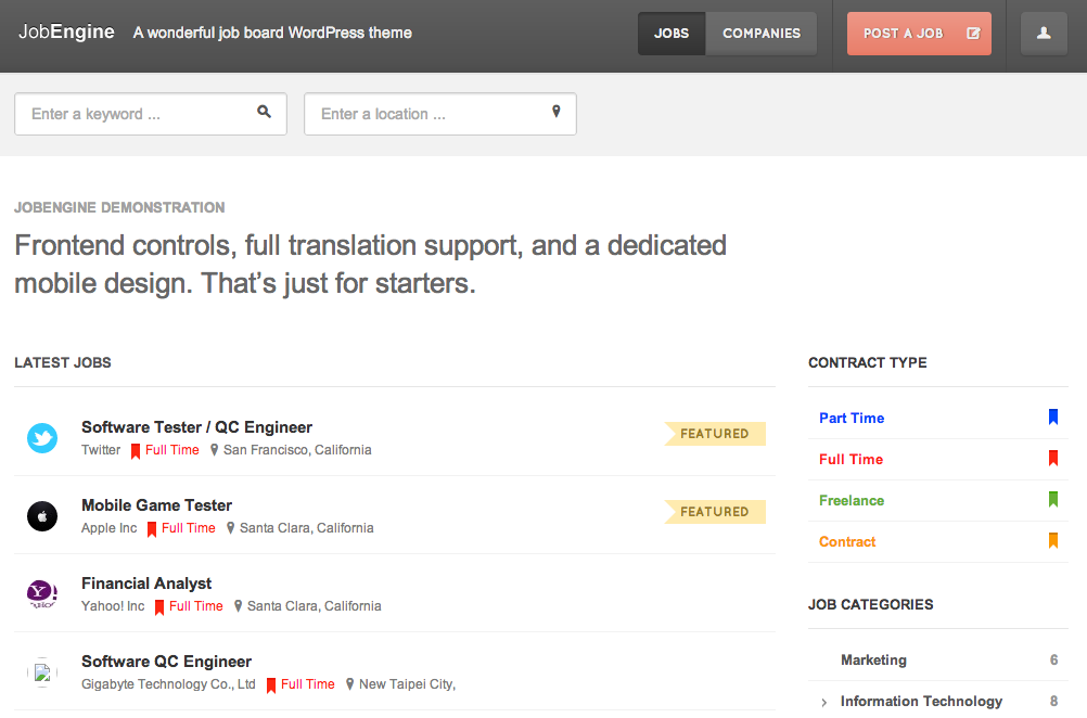 Job Engine Review - WordPress Job Board Theme