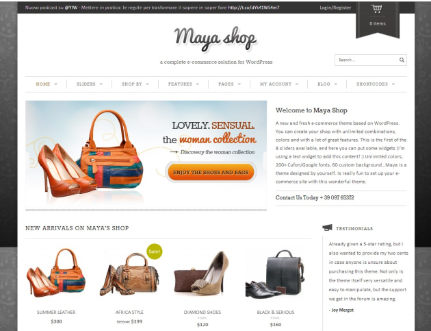 Maya Shop a complete e-commerce solution for WordPress