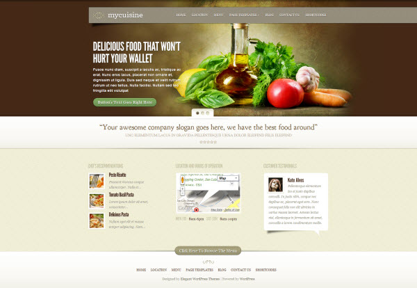 Mycuisine Restaurant WordPress Theme