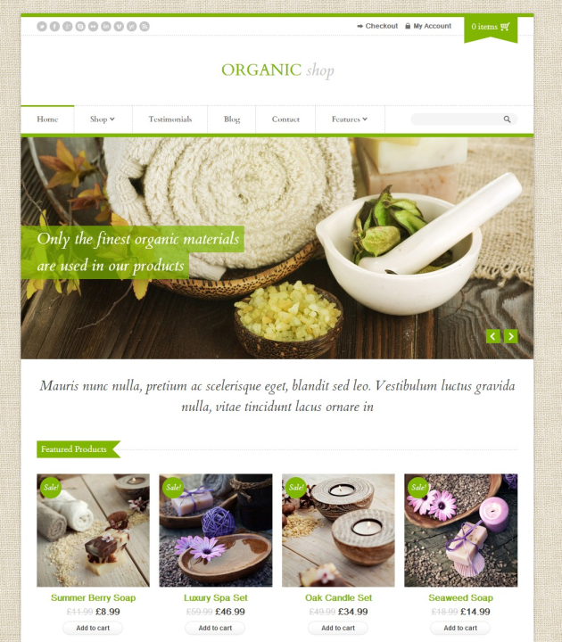 Organic Shop A Responsive WordPress Theme for eCommerce Websites
