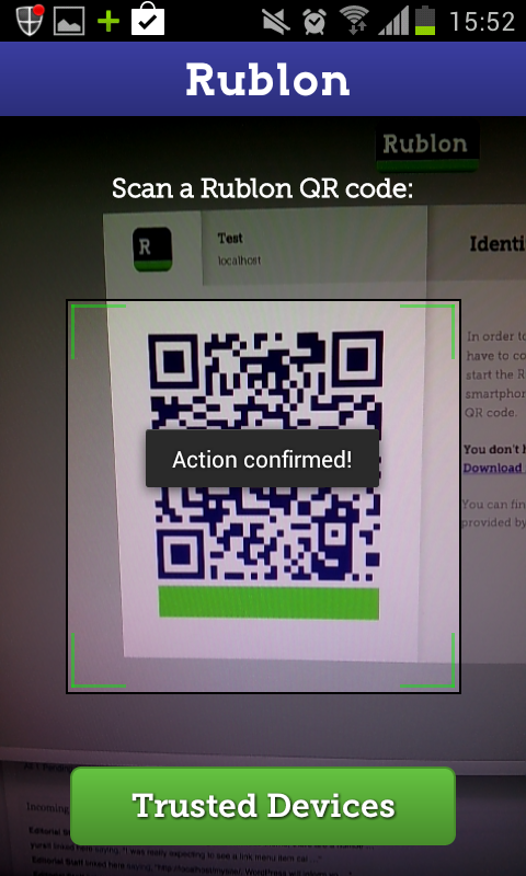 Scanning the QR code with my mobile device