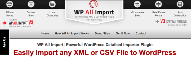 The Best WordPress CSV   XML Import Plugin   WP All Import v3