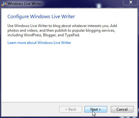 Start configuration process of Windows Live Writer