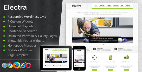 Electra corporate responsive theme for WordPress