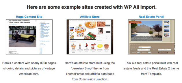 example sites wp all import