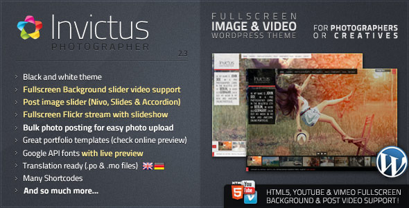 invictus wordpress photography theme