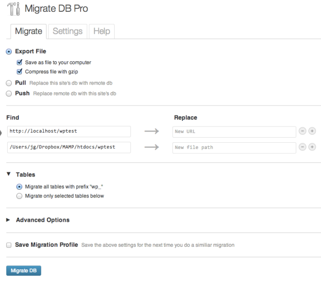 migrate db pro interface