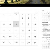 A page showing a full page calendar grid and various widgets.