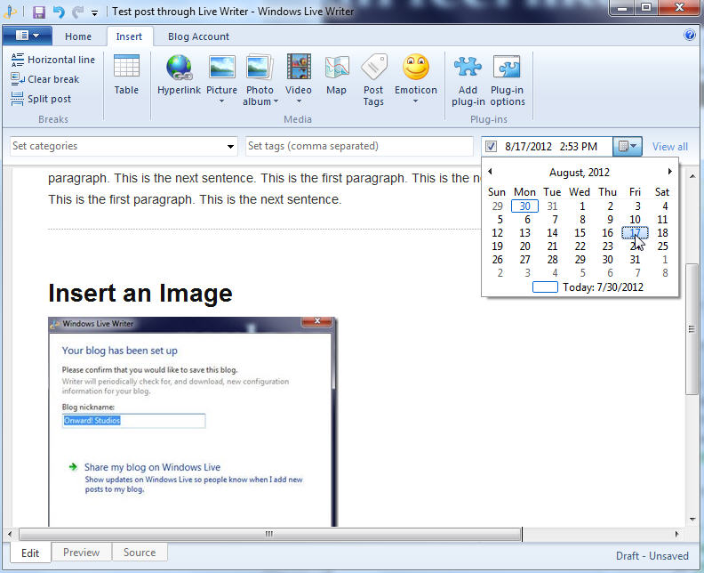 Set Publish Date in Windows Live Writer