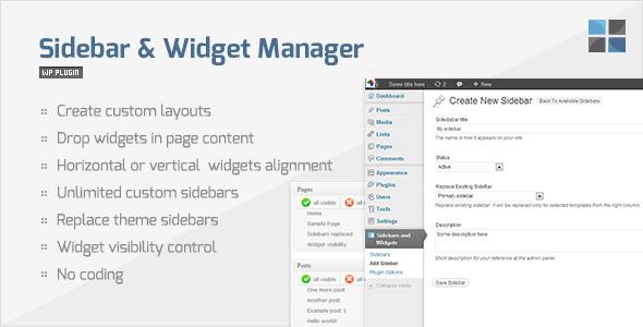 sidebar widget manager