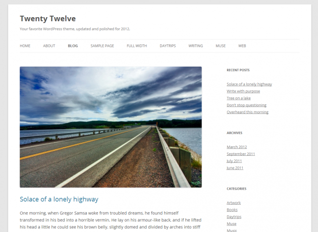 twenty twelve free wordpress theme