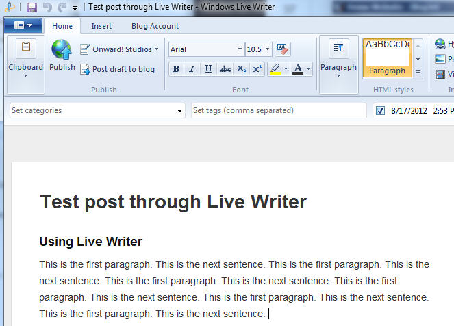 Write blog post from within Windows Live Writer